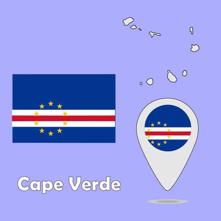cape verde flag: A pointer map and flag of Cape Verde