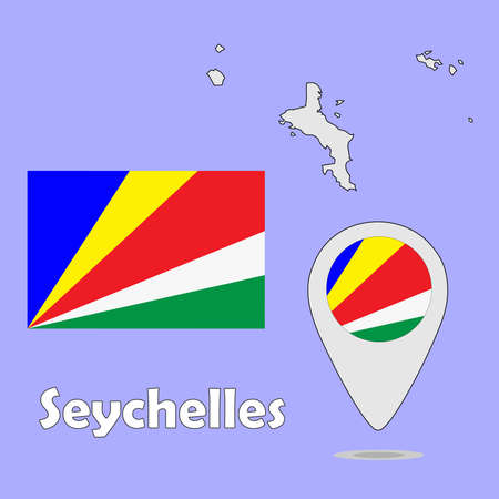 seychelles: A pointer map and flag of Seychelles