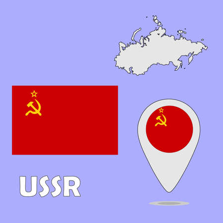 ussr: A pointer map and flag of USSR Illustration