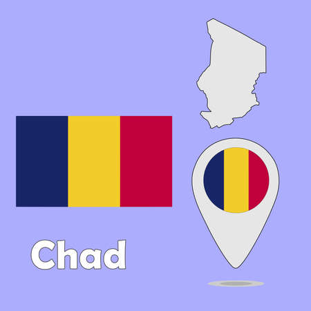 chad: A pointer map and flag of Chad Illustration