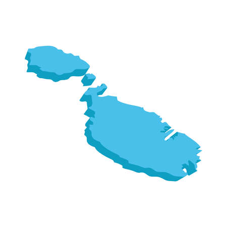 A map of Malta 3D on white background Illustration