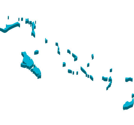 A map of Bahama Islands 3D on white background
