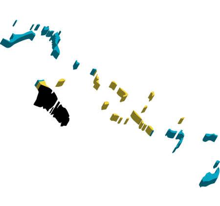 bahama: A map of Bahama Islands 3D with flag on white background Illustration