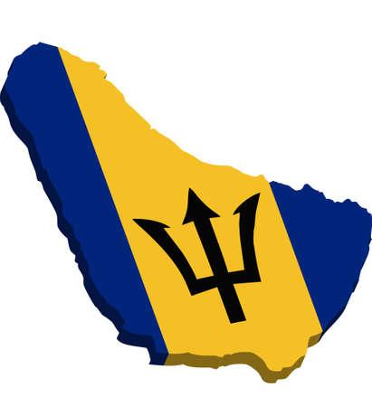 Une carte de la Barbade 3D avec le drapeau sur fond blanc
