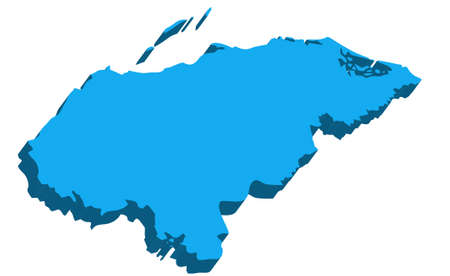 bandera panama: Un mapa de Honduras en 3D sobre fondo blanco Vectores