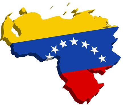 mapa de venezuela: Un mapa de Venezuela 3D con la bandera en el fondo blanco Vectores
