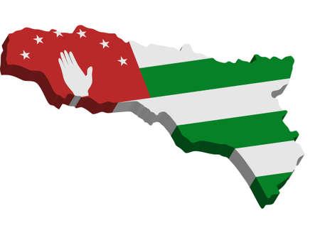 abkhazia: A map of Abkhazia 3D on white background