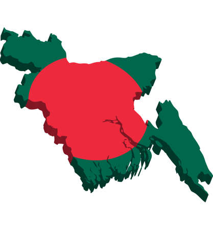 bangladesh 3d: A map of Bangladesh 3D on white background Illustration