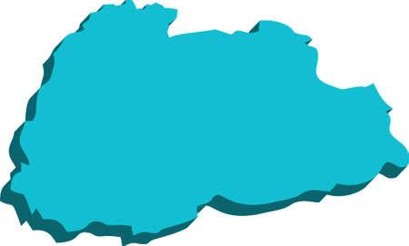 butane: A map of Butane 3D on white background