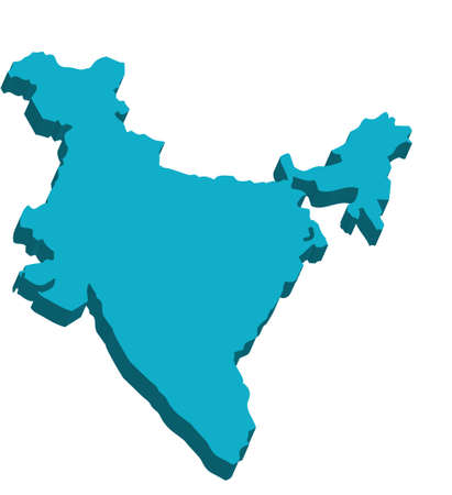 india 3d: A map of India 3D on white background