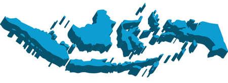 白い背景の上のインドネシアの 3 D の地図
