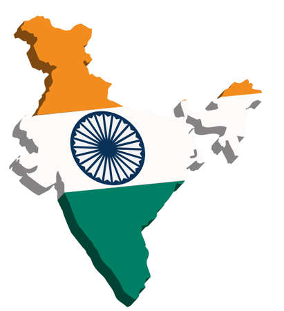 india 3d: A map of India 3D with flag on white background