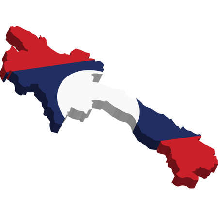 laos: A map of Laos 3D on white background Illustration
