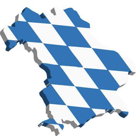 Une carte de Bavière 3D sur fond blanc