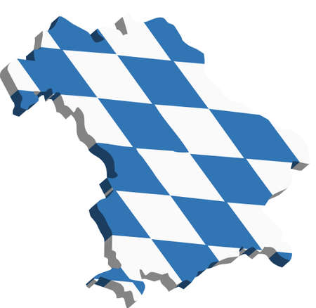 A map of Bavaria 3D on white background