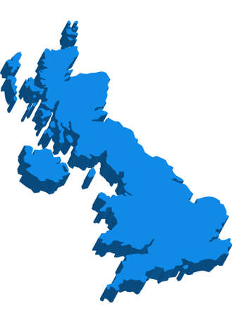 britain: A map of Great Britain 3D on white background