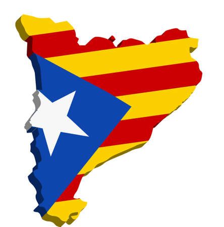 catalonia: A map of Catalonia 3D on white background