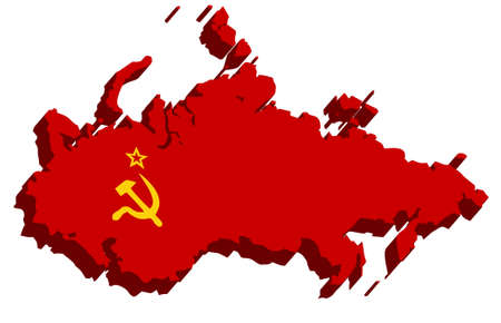 ussr: A map of USSR 3D on white background