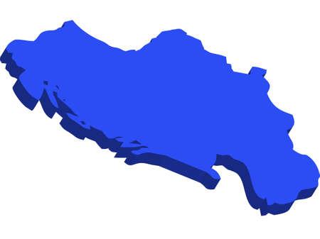 yugoslavia: A map of Yugoslavia 3D on white background