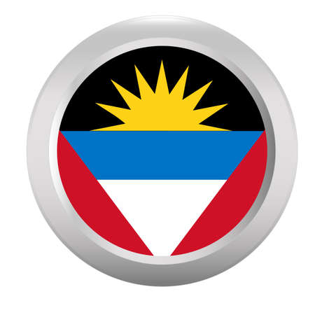 antigua: Button with flag of Antigua and Barbuda Illustration