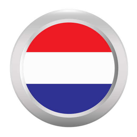 holland flag: Button with flag of Holland Illustration