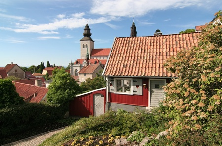A small cottage in the medieval town of Visby. Stock Photo
