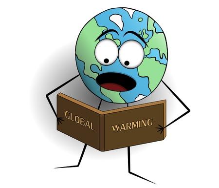 tierra caricatura: La tierra de dibujos animados hombre leyendo acerca de su propia destrucci�n. Foto de archivo