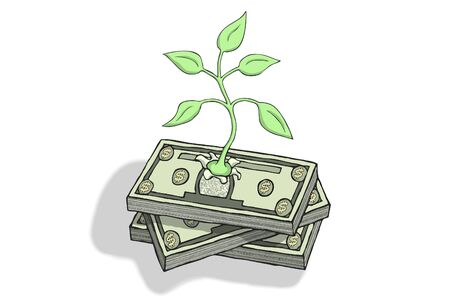 Plant emerging from a pile of dollar bills. Symbol for green economic growth.