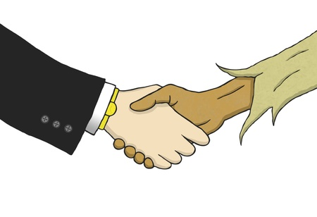 poor man: Hand drawn illustration that shows a handshake between a wealthy white man in suite and a poor black man in rags. Stock Photo