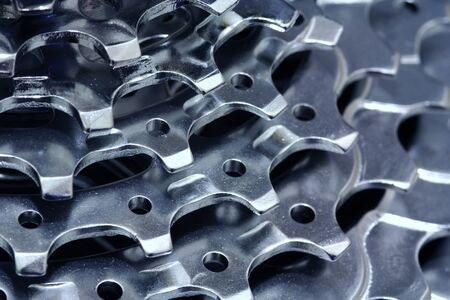 Cogs of steel. Chromed and shiny. Stock Photo
