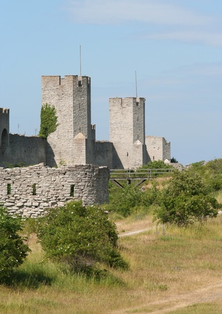 Medieval city wall around the town Visby. Stock Photo