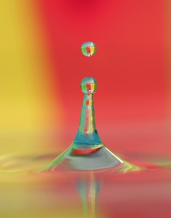 Colorful image of water droplet in water body.