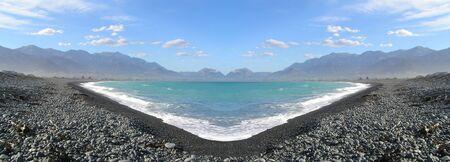 Panorama shot of lake in New Zeeland
