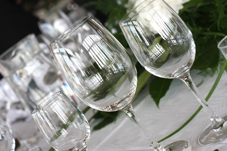 Classy shiny glasses with reflections. Stock Photo