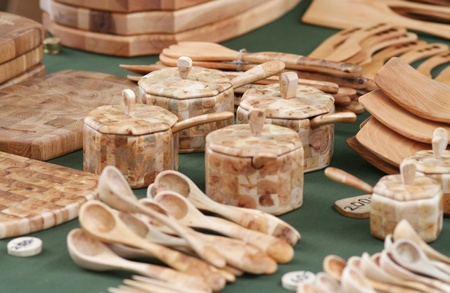Wooden hand crafted items of different kind. Stock Photo