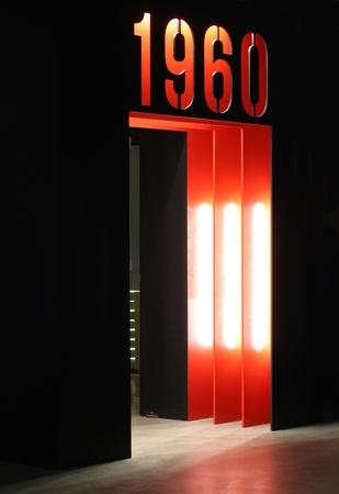 つながるドアを 60 年代。 写真素材
