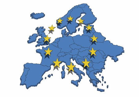 european: Map of the Europe with blue color and yellow stars. Symbol for the European Union.
