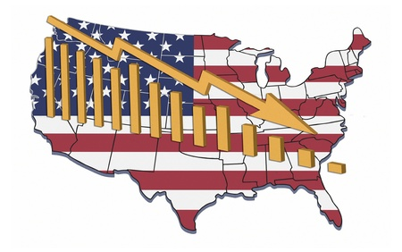 decline: Illustration of recession and declining trends in USA.