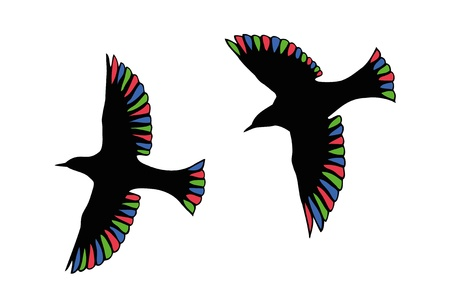Beautiful birds with transparent wings in the RGB-colors. Stock Photo - 11812177