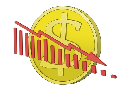 Dollar coin with declining graph in front. Symbol for declining dollar. Stock Photo