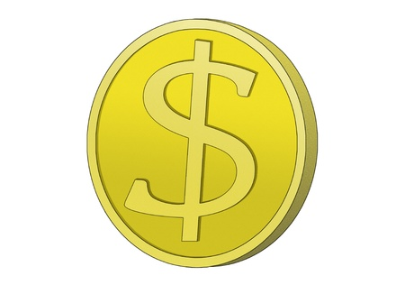 one us dollar coin: Golden Coin with dollar sign. Symbol for wealth and dollar currency.