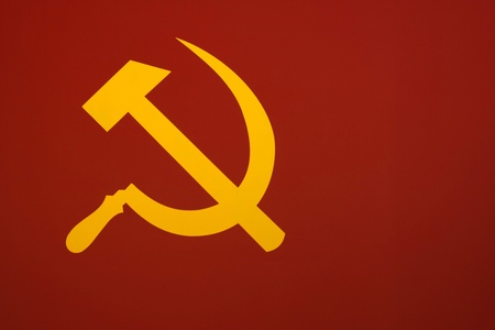 Murky version of the Soviet flag The hammer and sickle.