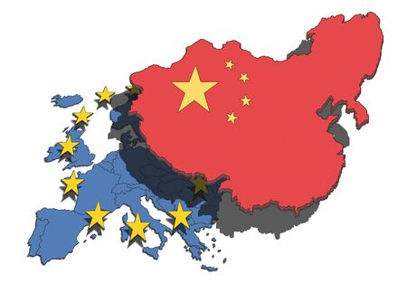 dominate: Illustration of China overshadowing and dominating the European nations and union.