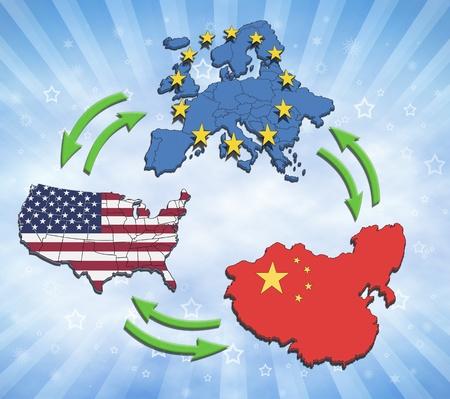la union hace la fuerza: EE.UU., Europa y China Interatction y el comercio. Foto de archivo