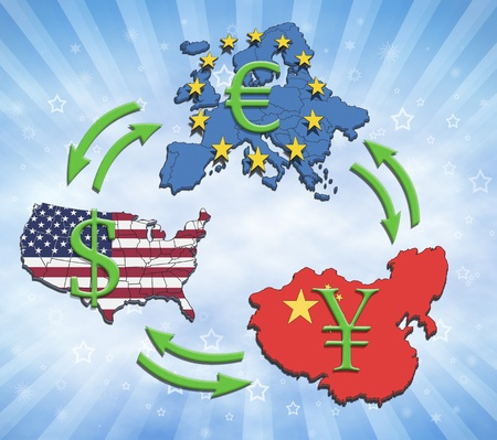 The greatest economies in the world, USA, China and Europe. Illustration of economic relations and currency trading. Stock Photo