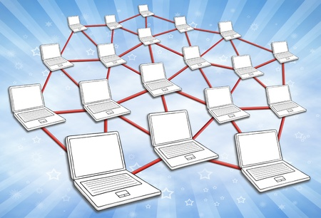 Computers connected in huge network. Symbol for internet and social media. Sky background. Stock Photo