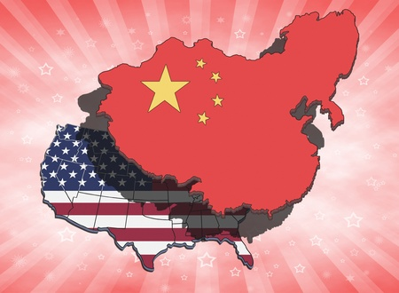 China dominating and overshadowing the USA. Conceptual illustration. Stock Photo