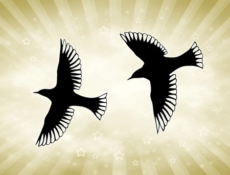 Two bird silhouettes in front of golden sunny background.