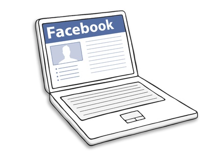 Computer with facebook illustration.