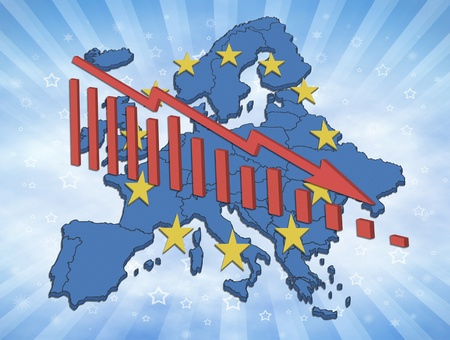 Illustration of declining trends in the European Union and the Euro. European map with symbols and declining diagram. Stock Photo